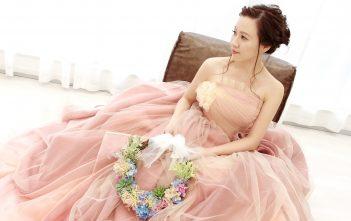 グラデーション ピンク カラードレス