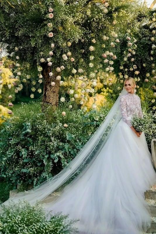 キアラ・フェラーニさんの結婚式 Aラインウェディングドレス