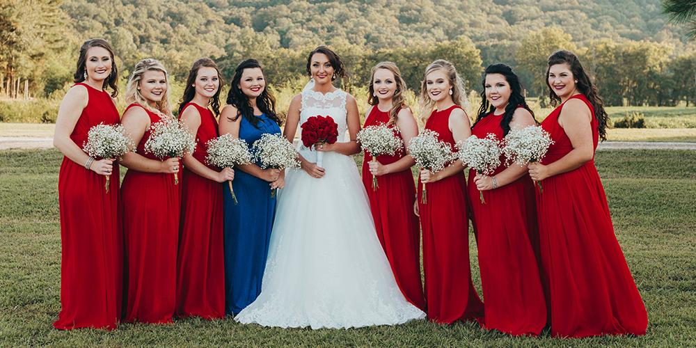 ブライズメイドドレス 赤
