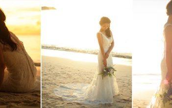 グアム挙式 ビーチ撮影 バックレスドレス