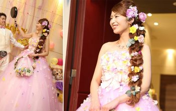 パープルのお花いっぱいドレス