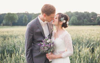 ドイツで結婚式 シンプルな7分袖ドレス