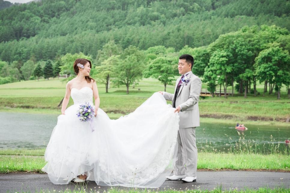 Aラインウェディングドレス 写真撮り 北海道