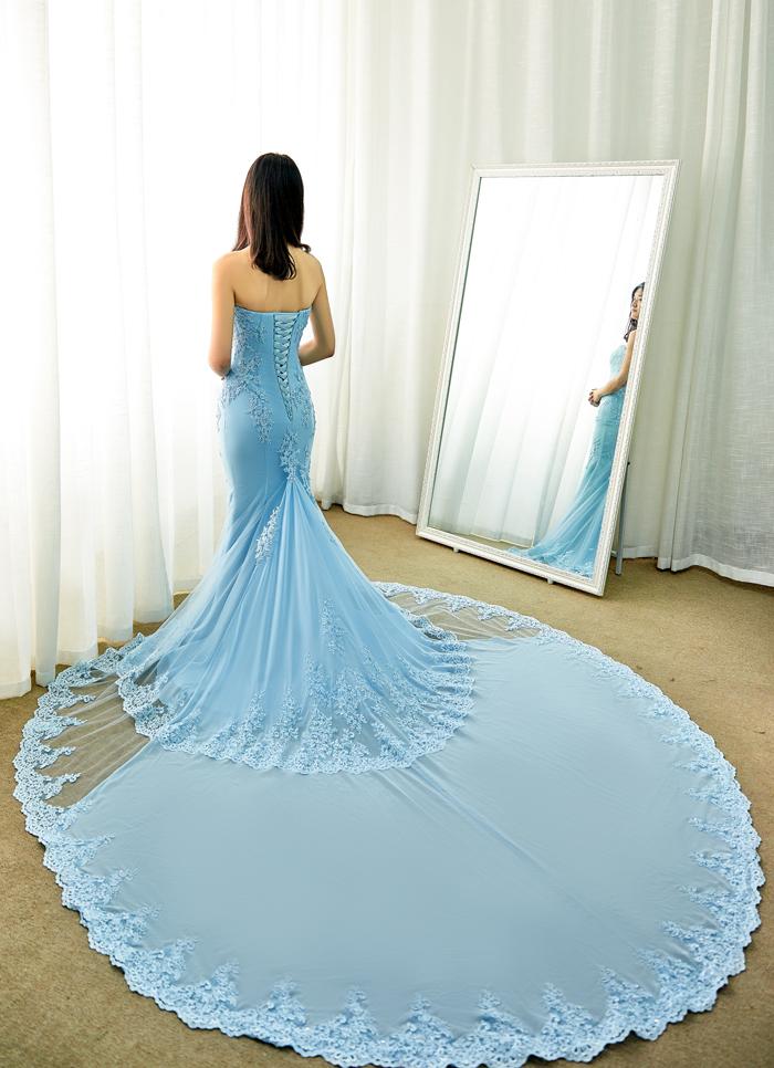 マーメイド カラードレス ブルー