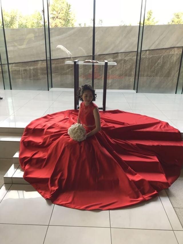 赤 セパレート カラードレス 結婚式 お色直し