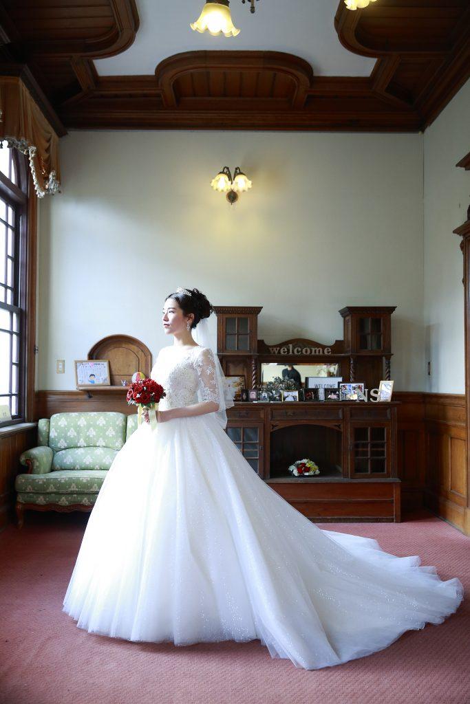 柳川藩立花邸御花結婚式 袖付きウェディングドレス