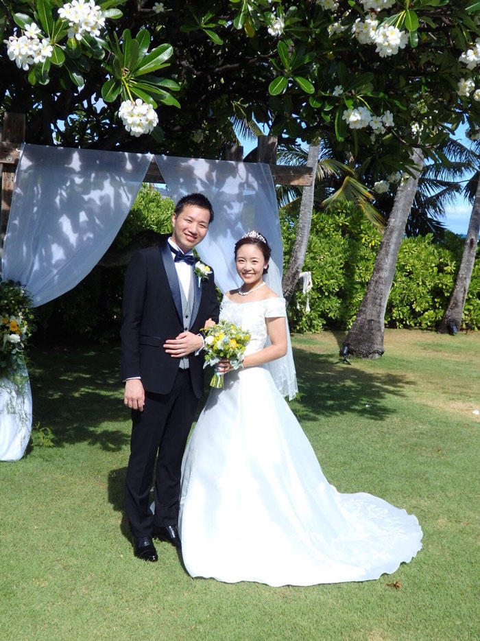 ハワイHalepuna kai挙式 ウェディングドレス