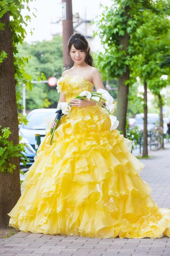 黄色カラードレス