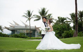 ハワイウェディング コオリナ・チャペルアクアマリーナ シルバーグレードレス LD5054