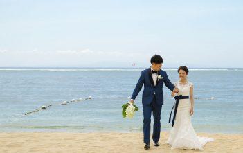 バリ島 ビーチ撮影 マーメイドドレス 紺色サッシュベルト