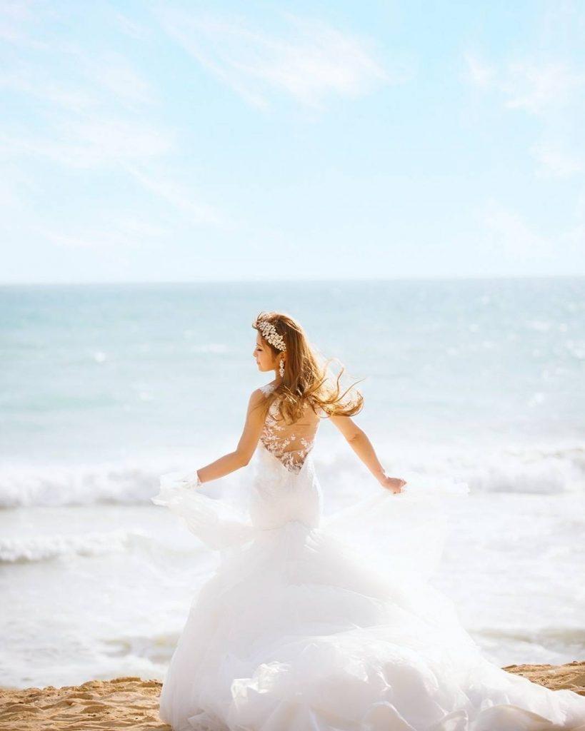 ハワイウェディング マーメイドドレス ビーチフォト