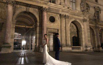 海外挙式 パリ マーメイドウェディングドレス