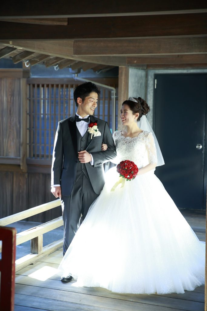 柳川藩立花邸御花結婚式 袖付きウェディングドレス クラシカル