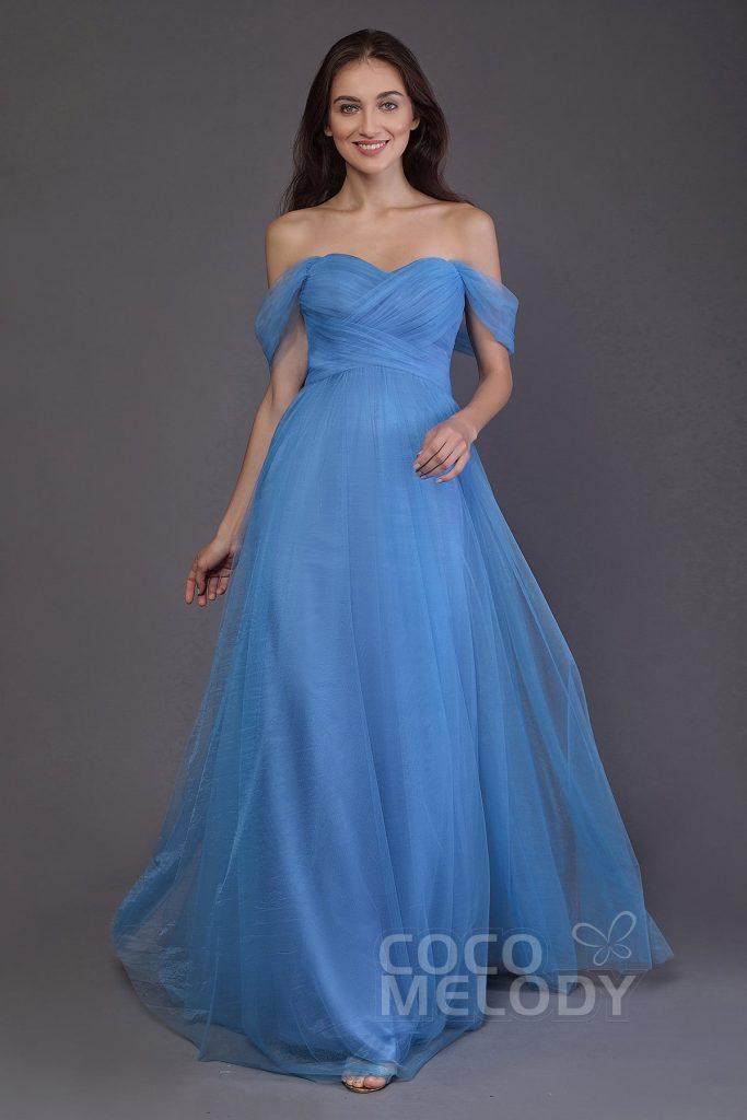 ロングドレス オフショルダー ブルー
