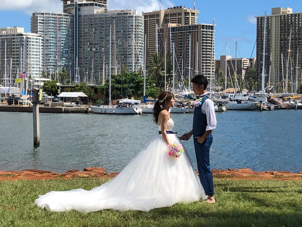 ハワイ挙式 結婚式 プリンセスラインドレス