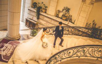 後撮り プリンセスラインドレス 階段ショット