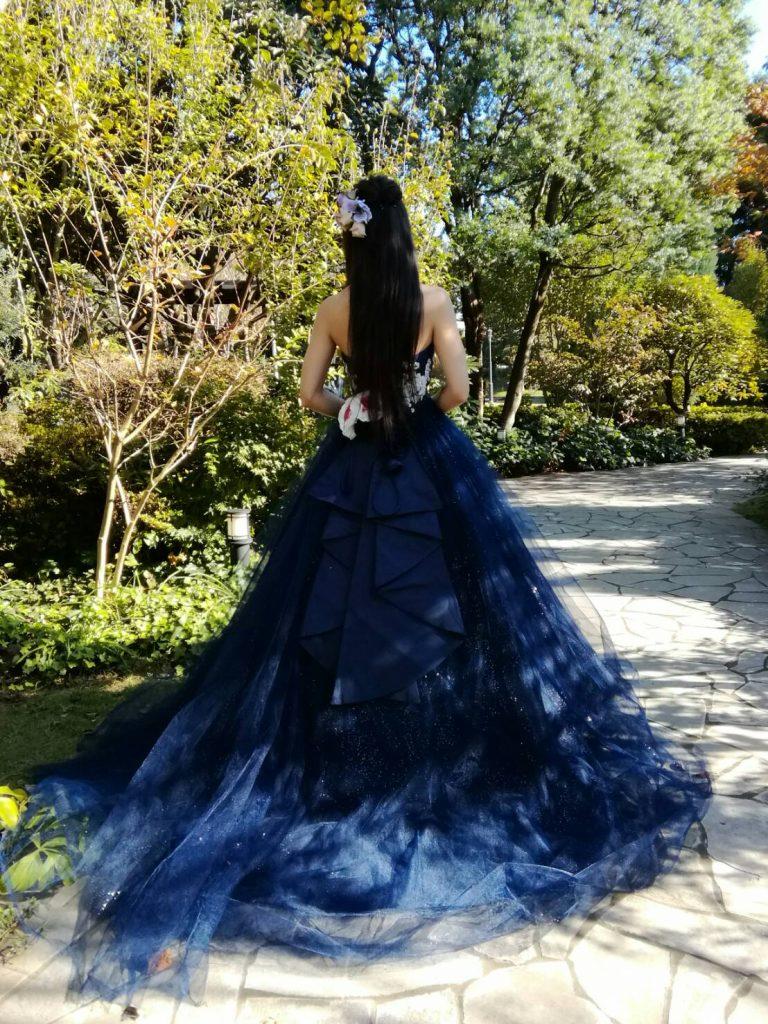ネイビーカラードレス 結婚式 キラキラ