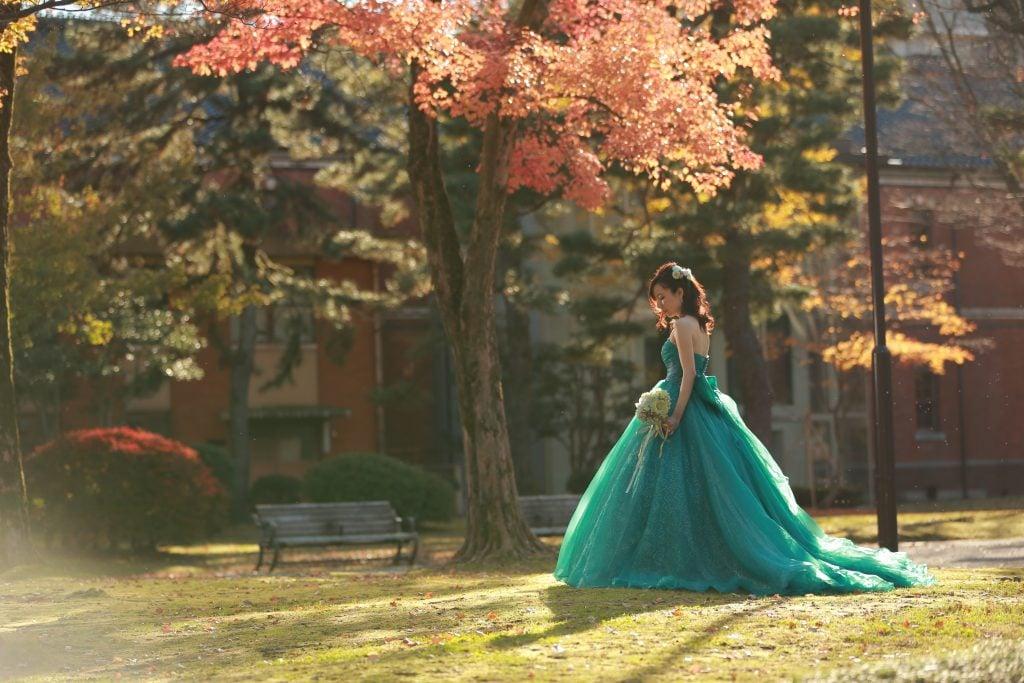 秋 紅葉 前撮り グリーンドレス