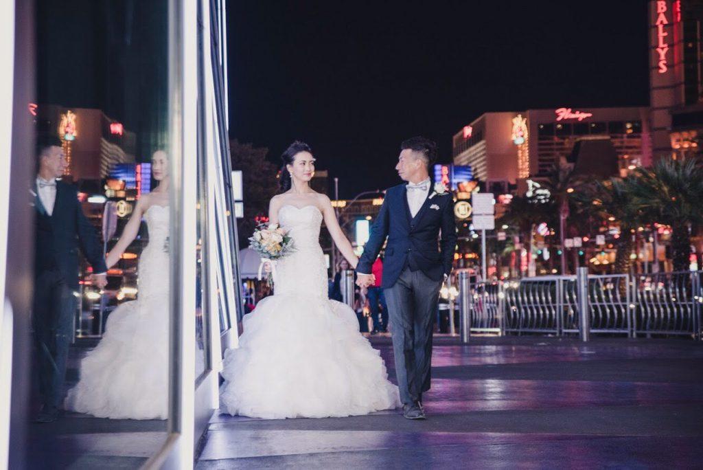 ラスベカス フォトウェディング 夜景 マーメイドドレス