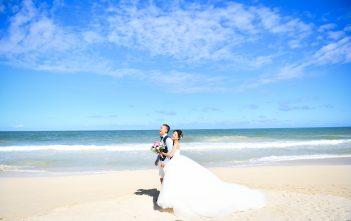 ハワイ前撮り ウェディングドレス ビーチフォト