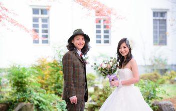 結婚式 前撮り ウェディングドレス タキシード 帽子