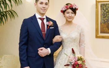 長袖ドレス シャンパンカラー 国際結婚