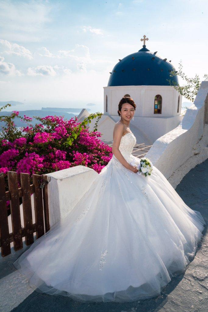 ギリシャ サントリーニ島 後撮り ウェディングドレス