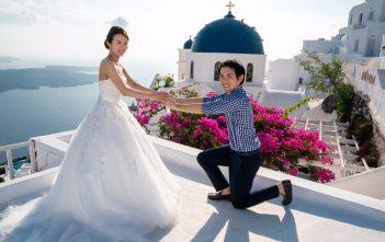 ギリシャ サントリーニ島 後撮り ウェディングドレス プロポーズ
