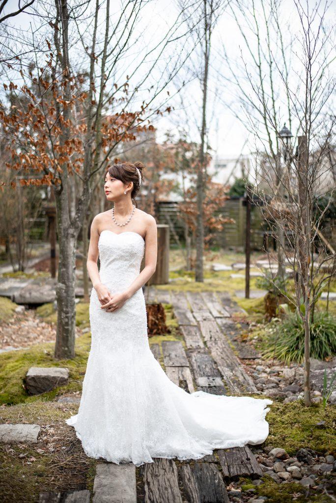 結婚式前撮り ガーデン マーメイドウェディングドレス