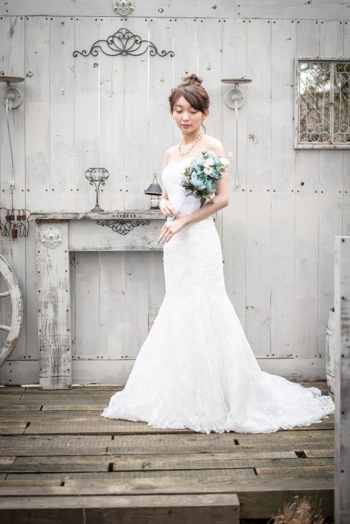 結婚式前撮り ガーデン マーメイドウェディングドレス 新潟