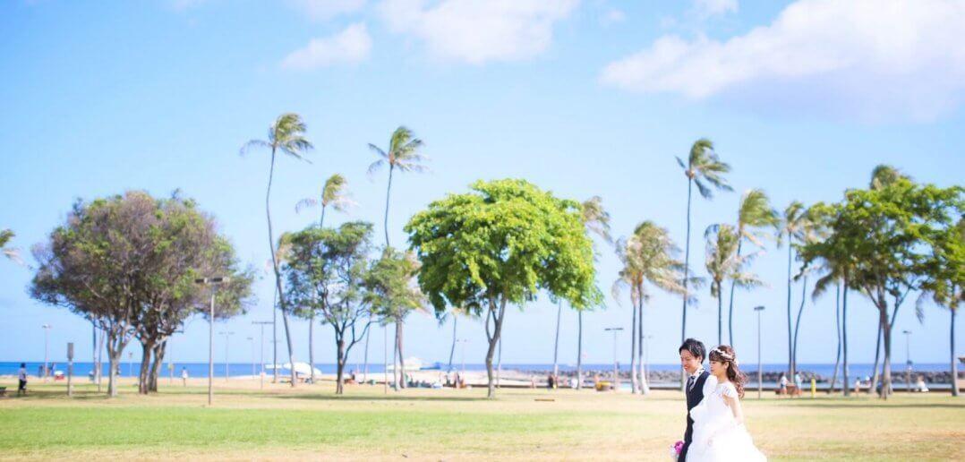 ハワイ前撮り ウェディングドレス 大人かわいい