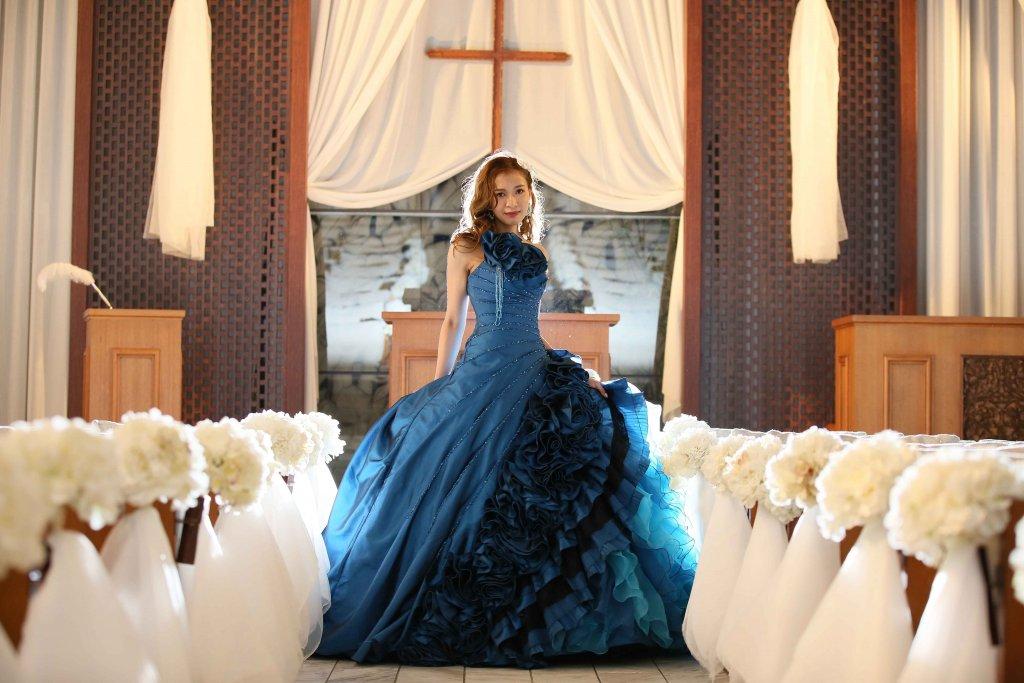 表参道TERRACE 結婚式 カラードレス ブルー
