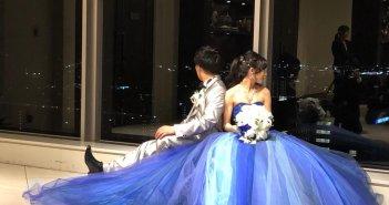 ザ・スタイル 岡山 結婚式 カラードレス ブルーグラデーション
