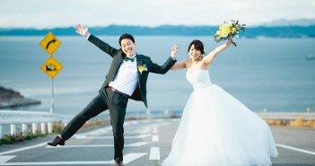 瀬戸内海 淡路島 前撮り ウェディングドレス Aラインドレス