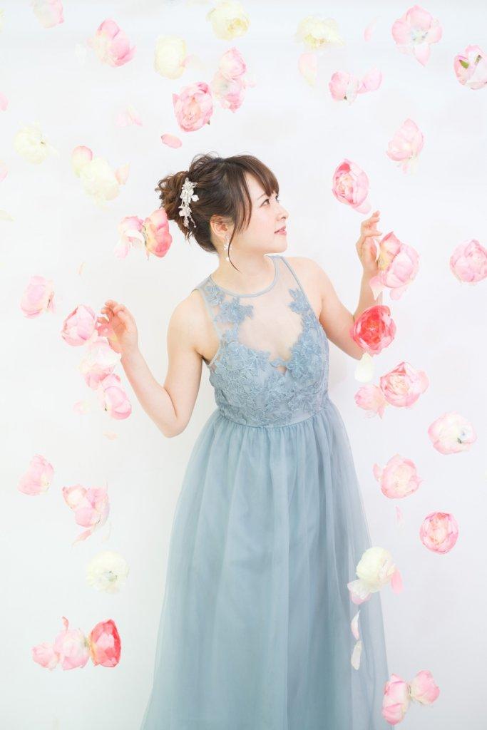 花嫁二次会ドレス パーティードレス グレー・ブルー