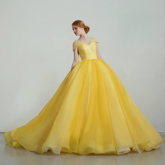 カラードレス 美女と野獣 ベル 黄色ドレス プリンセスライン