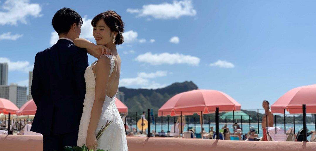 ハワイ ロイヤルハワイアンホテル 結婚式 ウェディングドレス