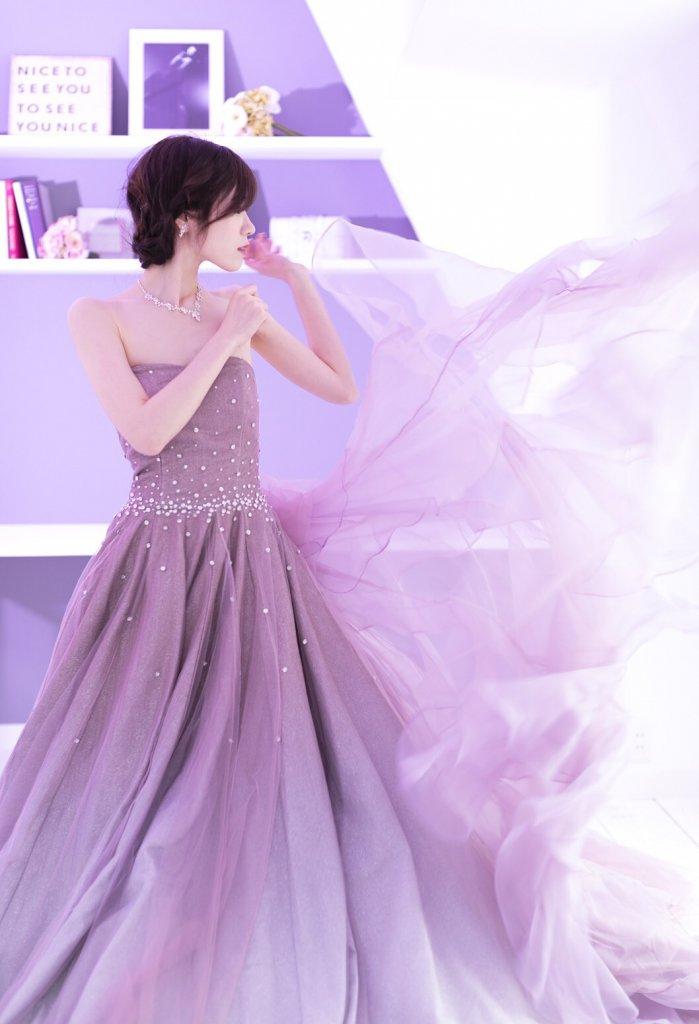 ピンク パープル グラデーション カラードレス キラキラ