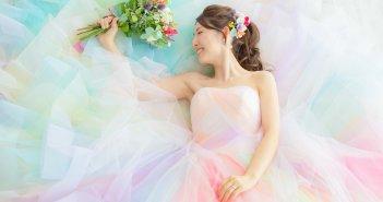 カラードレス 結婚式前撮り レインボードレス