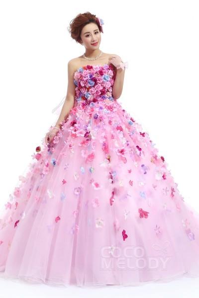 JP0110 フラワー リボン ピンク カラードレス